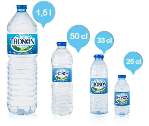 Thonon: des formats de bouteilles pour vous accompagner partout, tout au long de la journée.